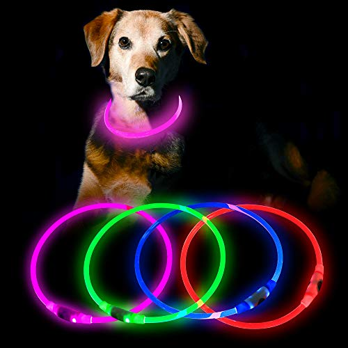 HiGuard USB Rechargeable LED Necklace Lighted up Safety Bracelet Glowing Necklace Glow in The Dark Super Bright for Party Favors Christmas Concerts Birthday Outdoor Activities