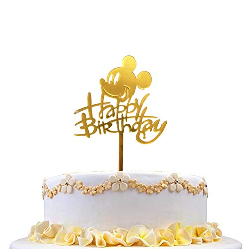 2PCS Mickey Mouse Happy Birthday Cake Topper for Kids Birthday Party Cake Decoration (Gold)