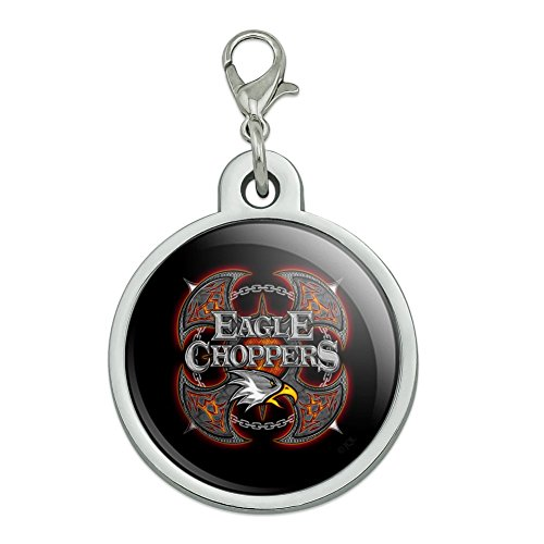 Plated Club - Graphics and More Eagle Choppers Motorcycle Biker Club Chrome Plated Metal Pet Dog Cat ID Tag - Large