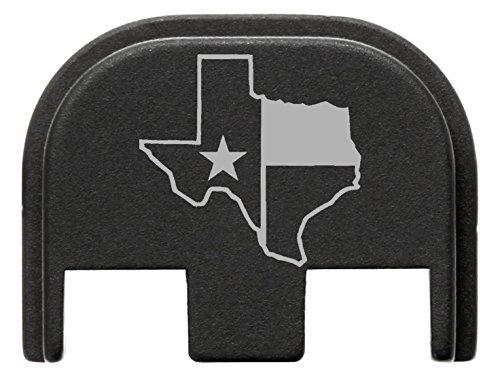 for Glock Gen 5 Back Plate 9mm 17 19 19x 26 34 Black NDZ Texas State Border Outline Flag
