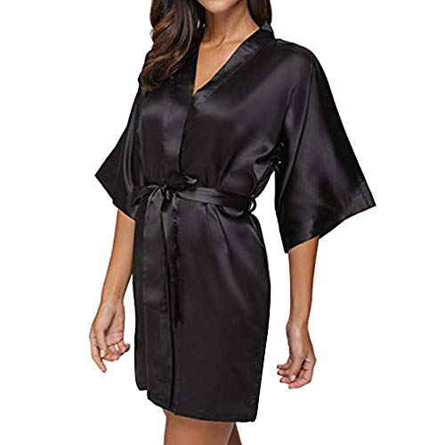 Xiaojmake Women's Pure Colour Short Satin Kimono Robes with Oblique V-Neck