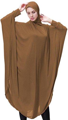 Jaycargogo Robe Des Femmes De Chauve-souris Manches Musulman Hijab Deux En Un Chameau