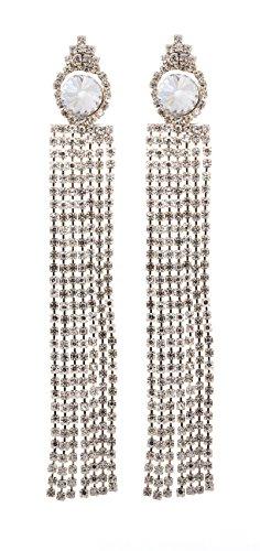 Boucles d'oreilles clips - lustre plaqué or avec des cristaux scintillants clairs - Veda G par Bello London