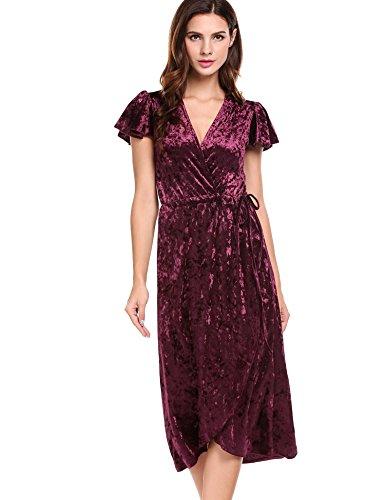 Delle Scuro Di Manica Collo V Rosso Donne Profondo Dress Wrap Acevog Corta Elegante w7qt6tBO