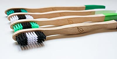4 Biodegradable Toothbrushes by AVANT-VOCE, Bamboo, Eco Friendly, Zero Waste, Durable 100% Recycled Bristles, Laser Engraved Handle, Eco Paint Dipped Handles, Charitable Cause, Value Pack