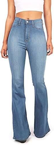 ReVeaL Women's Classic High Waist FLARE Denim Jeans Bell Bottoms