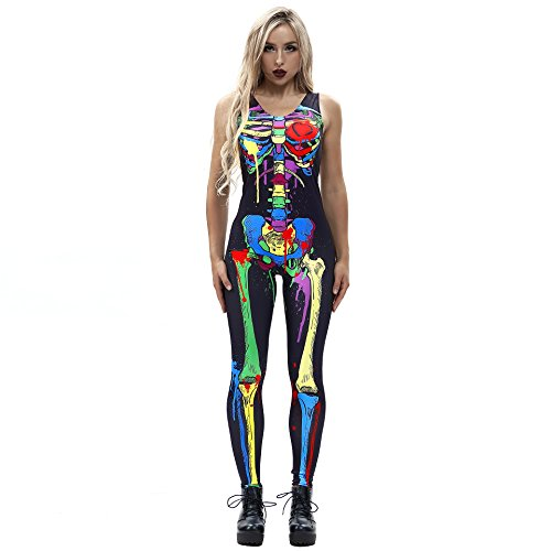 F style Sexy Sleeveless Backless Halloween Costumes for Women Colorful Skeleton Skull Printing Skinny Jumpsuits