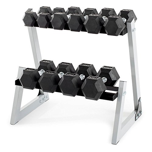 Weider 200 lb. Rubber Hex Dumbbell Set with Rack