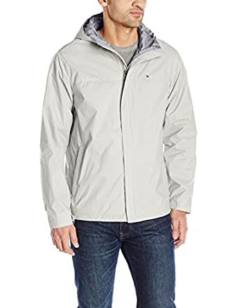 TOMMY HILFIGER Men's Waterproof Breathable Hooded Jacket, Ice, Small