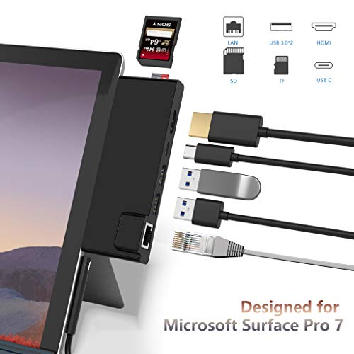 🥇 Surface Pro 7 Hub Docking Station with 4K HDMI Adapter+1000M Gigabit Ethernet LAN+ USB C PD Charging +2 Port USB 3.0+SD/TF