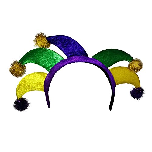 Jacobson Hat Company Women's Velvet Mardi Gras Jester Headband, Multicolor, Adult
