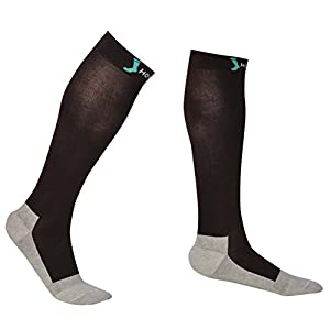 Business Travel Socks - Comfortable 20-30 mmHg Graduated Compression Socks for Men & Women, Cotton/silver Yarn for Antimicrobial and Deodorant (Medium, Brown/silver)