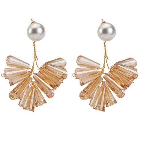 HoGadget Statement Drop Earrings for Women Handmade Simulated Pearl Seed Bead Earrings Dangle Earrings