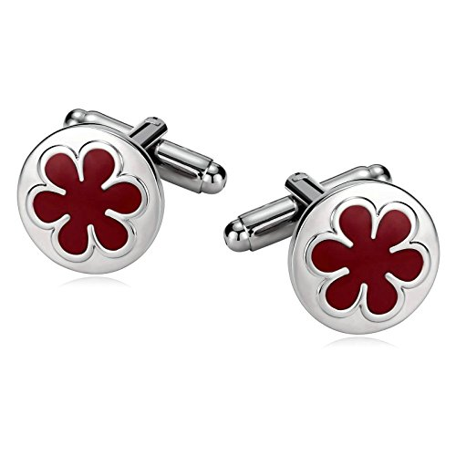 Mens Cufflinks Stainless Steel Enamel Flower Round Silver Red 1.5X1.5CM Dad Unique Jewelry Box Fancy Elegant Aooaz