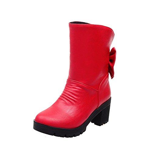 AllhqFashion Mujeres Puntera Redonda Caña Baja Tacón ancho Tachonado Botas con Lazos Rojo