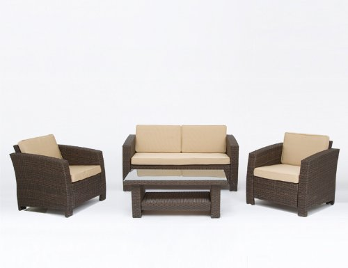 Siena Garden Malta Sofa Set 4tlg 1/3 2 Sessel,+1 Bank,+1 Tisch