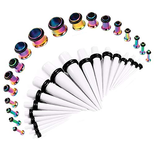 Tunnels Earlets Single Plugs Flare - BodyJ4You 36PC Gauges Kit 14G-00G Single Flare Rainbow Steel Tunnel Plugs White Acrylic Tapers