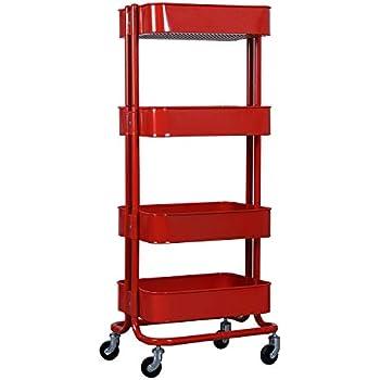 Wonline 4 tier mental rolling storage cart - Bathroom storage cart with wheels ...