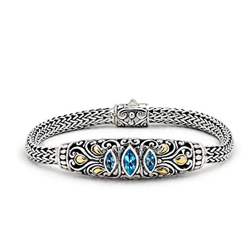 Deni Jewelry Sterling Silver 925 and 18 Karat Yellow Gold Bracelet With Blue Topaz Sky Stone and Balinese Motive Design For Women and Jewelry Gift, Length Size 7 Inches, Handmade with 925 18K Stamp