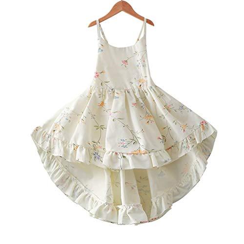 Tonwod Little Girl Dress,Sleeveless Cotton Casual Summer Floral Sundress (6/7, White-A11)