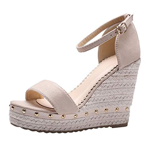 - 〓COOlCCI〓Women Espadrille Wedge Sandal,Open Toe T-Straps Strappy High Wedge Heel Wood Decoration Buckle Shoes Sandals