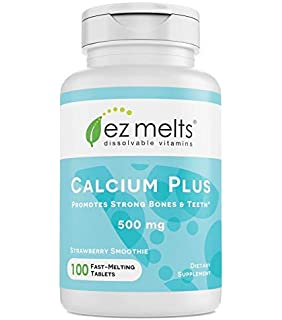 EZ Melts Calcium Plus with Vegan D3 and Magnesium, 500 mg, Sublingual Vitamins,