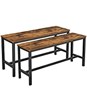 VASAGLE Table Benches, Set of 2, Industrial Style Indoor Benches, 108 x 32.5 x 50 cm, Durable Metal Frame, for Kitchen, Dining Room, Living Room, Rustic Brown and Black KTB33X