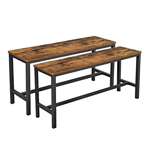 VASAGLE ALINRU Table Benches, Pair of 2, Industrial Style Indoor Benches, Rustic Brown UKTB33X