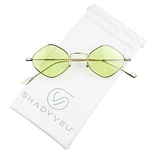 ShadyVEU - Exclusive Diamond Shaped Candy Color Tint Flat Lens Vintage Sunglasses (Gold Frame / Green Lens, - Trinity Lens