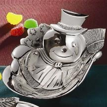 - Silver Plated Snowman Candy Dish