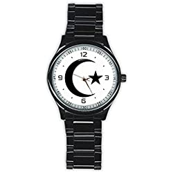 Larons Men's Moon and Star Stainless Steel Round Watch