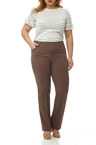Rekucci Curvy Woman Plus Size Pull-On Bootcut Pant in Ultimate 360 Degree Stretch Cotton (22W,Mocha) -