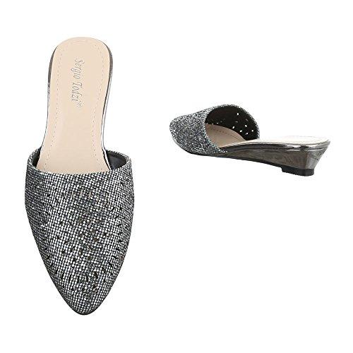 Ital-Design - zapatillas de baile (jazz y contemporáneo) Mujer gris plateado