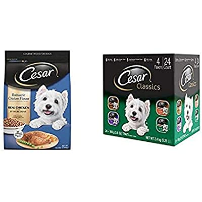 Cesar Small Dog Food Variety Pack With 12 Lb Bag Of Rotisserie Chicken Dry Food And 24 Trays Of Poultry Variety Wet Food