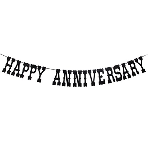 Black Happy Anniversary Banner Wedding Anniversary Party Bunting Vow Renewal Party Supplies