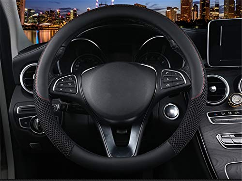 Icegirl Universal 15 Inch Steering Wheel Cover - Ice Silk Breathable Anti Slip No Smell Comfort Durability Safety (Black) ()
