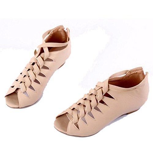 TAOFFEN Mujer Botines Sandalias Gladiador Peep Toe Cremallera Tacon Bajo Zapatos Rosado