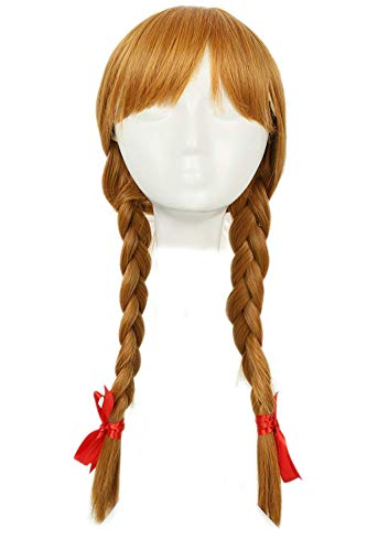 xcoser Annabelle Wig Conjuring Cosplay Long Light Brown Double Tails Hair Accessories