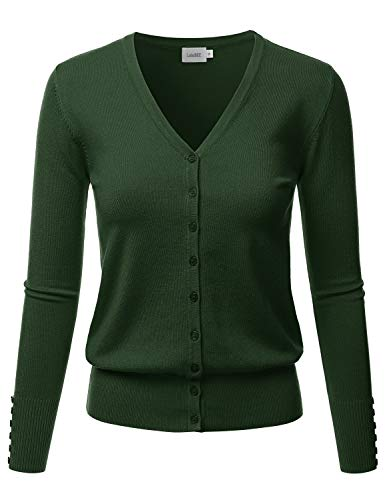 LALABEE Women's V-Neck Long Sleeve Button Down Sweater Cardigan Soft Knit-Olive-XL