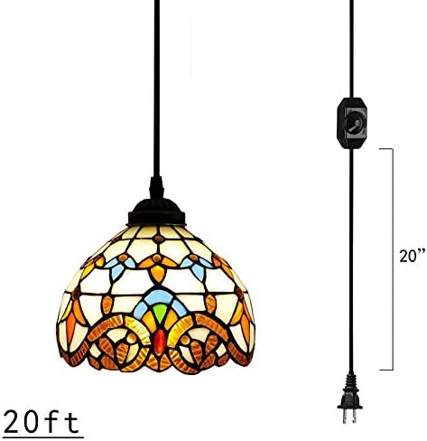 Kiven Plug-in Tiffany Chandelier Handmade Glass Pendant Lamp 20ft UL Black Cord with On Off Dimmer Switch Bulb Not Included TB0204-6M