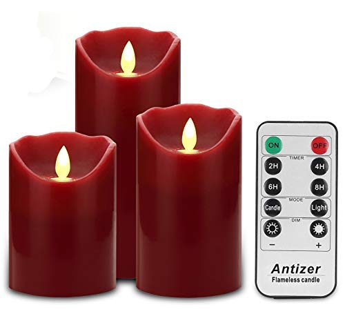 Antizer Flameless Candles 3 Pack Set Drip-Less Real Wax Pillars Include Realistic Dancing LED Flames and 10-Key Remote Control with 24-Hour Timer Function 400+ Hours by 2 AA Batteries (Burgundy) (Red Lanterns Sale For)