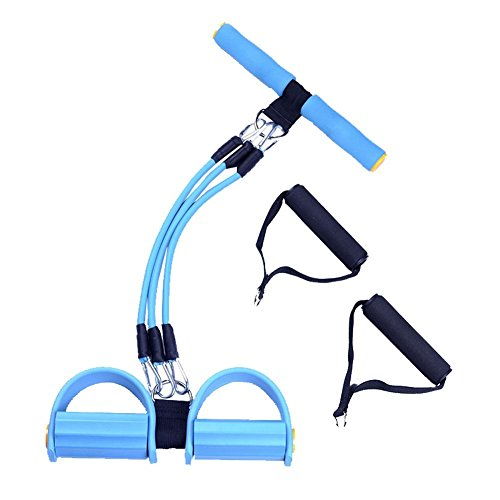 Resistance Ftiness Bands Set ,Yoga Sports Equipment for Belly Abdomen Waist Arm Leg Exercise, Elastic Bodybuilding Fitness Slimming Training Exercise Bands, Portable Home GYM Sit-ups Device (Blue)