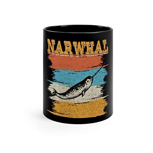 Vintage Narwhal Retro Women Men Kids Funny Cute Mug Cups Ceramic 11oz Black ()