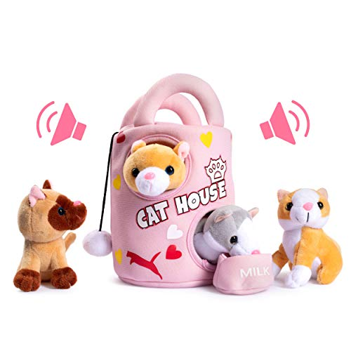 Plush Creations Plush Cat House Carrier with 4 Soft and Fluffy Stuffed Plush Talking and Meowing Kittens, Plus A Cat Plush Milk Bowl. Best Toy Gift for Babies and Toddlers