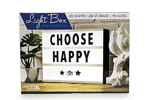 "Leisure Arts Inc. LED Cinema Light Box | USB Cable Included - 11.75"" x 8.75"" Light Box 96 – 2.5"" Slides 2 Alphabet Sets 2 Number Sets (0-9) 2 Punctuation Mark Sets Set of Fun Symbols Included"