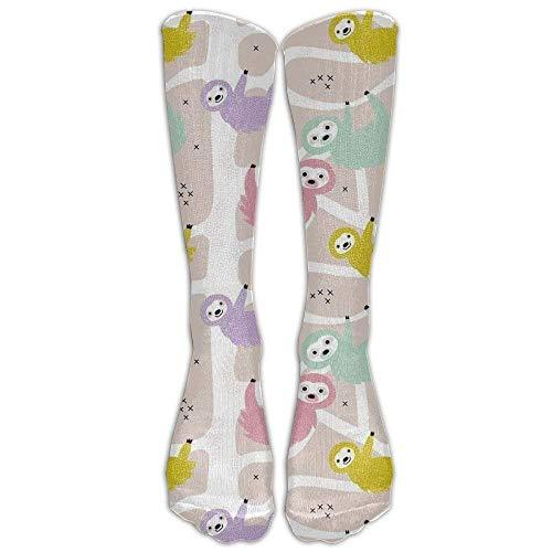 ZOZGETU Sloth Animal Cute Compression Socks For Men Women - BEST For Running, Nurses, Shin Splints, Flight Travel, Skiing Maternity Pregnancy - Boost Athletic Stamina Recovery (Long 50cm