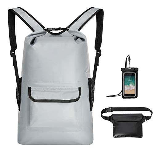 MODOKIT Durable Waterproof Backpack Set of 3 with Waterproof Waist Pouch + Phone Case, 22L Dry Bag for Water Sports, Kayaking, Swimming, Snowboarding, Camping, Boating, Hiking