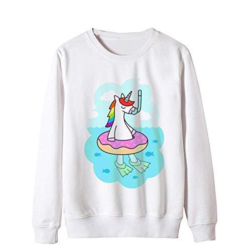 Lunghe Tempo Moda 2 Chic Sweatshirts Maniche Ragazza Ragazze O Libero Giovane White Eleganti Autunno Jumper Invernali Unicorno Donna Camicetta Felpa Collo Maglione wO1P4qXW