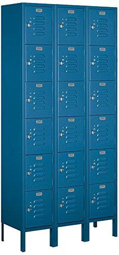 Salsbury Industries 66362BL-U Six Tier Box Style 36-Inch Wide 6-Feet High 12-Inch Deep Unassembled Standard Metal Locker, Blue by Salsbury Industries