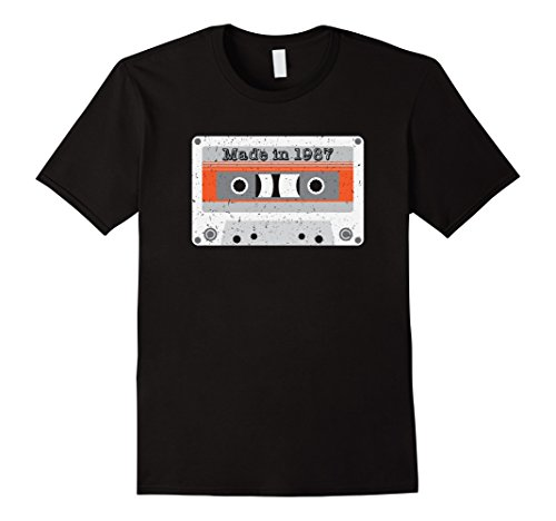 Hip Hop Costume For Guys (Mens Vintage Made in 1987, 80s mixtape cassette funny shirt gift 2XL Black)